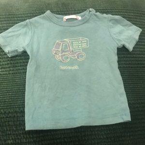 Bonpoint Green Truck T-Shirt w/Button Closure